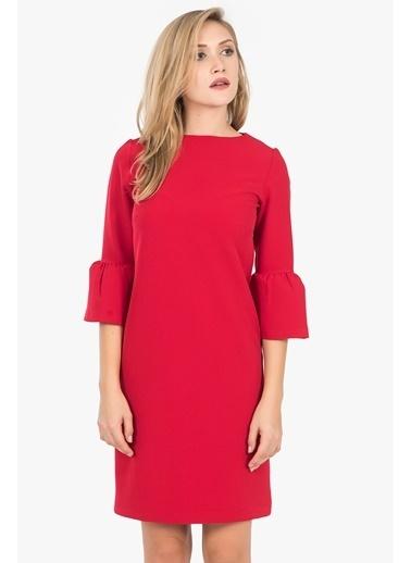 İroni Balon Kollu Kısa Kalem Elbise Kırmızı